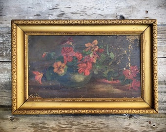 Antique Original Oil Painting Still Life of Flower Pot and Red Flowers in Gold Painted Wood Frame