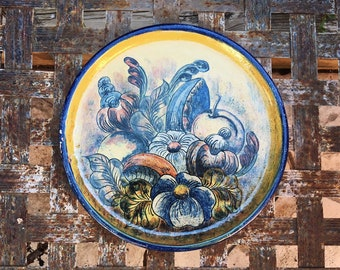 "Vintage 9.5"" Decorative Mexican Wall Plate for Kitchen Rustic Southwestern Decor"