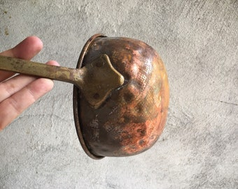 Vintage Hammered Copper Ladle Large Primitive Serving Spoon Dipper, Copper Home Decor