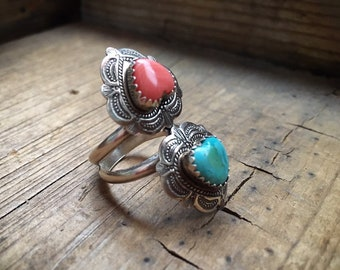 Sterling Silver Pink Shell and Turquoise Heart Ring for Woman Size 6, Southwestern Jewelry
