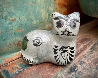 Small Tonala Cat w/ Thick Eyebrows Figurine, Mexican Pottery Folk Art, Kitty Lover Gift for Friend