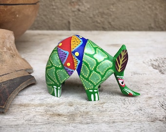 Small Oaxaca Mexico Alebrije Armadillo Figurine Wood Carving Green Painted Desk Decor