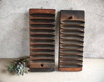 Antique Wooden Cigar Mold 10 Slot Press Box, Vintage Tobacciana Cannager Mold, Primitive Decor Rustic Display