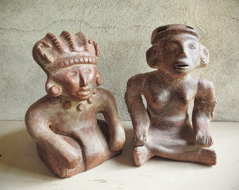 Vintage Mexican Folk Art Pre-Colombian Reproduction Statues Mayan or Aztec Warriors or Deities