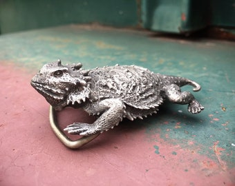 Solid Pewter Horned Toad or Horned Lizard Belt Buckle for Men Women, Texas Southwestern Gift