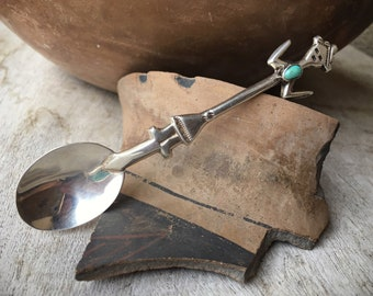 Vintage Navajo Sterling Silver Turquoise Yei Spoon, Native American Indian Collectible
