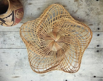 "Large 20"" Woven Reed Wall Basket Tray Farmhouse Decor, Primitive Decor, Wicker Basket Wall Hanging"