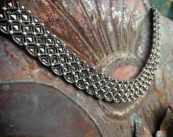 Vintage 925 Sterling Silver Marcasite Collar Necklace, Bib Choker Art Deco Link Necklace, Mauerwerk Jewelry