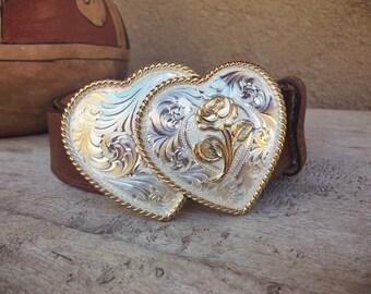 "Silver Plated Double Heart Western Belt Buckle for Women on Genuine Leather Belt Size 32"" Waist"