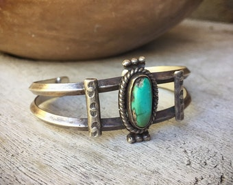 Vintage Turquoise Bracelet for Women, Native American Indian Jewelry, Old Pawn Southwestern