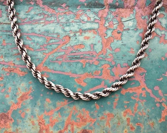 "Vintage 16.5"" Heavy Sterling Silver Rope Chain Necklace for Men or Women, Unisex Silver Chain"