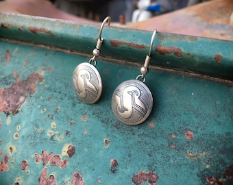 Very Small Mimbres Big Horn Sheep Silver Disc Earrings for Women, Native American Indian Hopi Jewelry