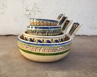 Tlaquepaque Nesting Bowls with Handles, Mexican Pottery Folk Art, Rustic Home Decor Farmhouse