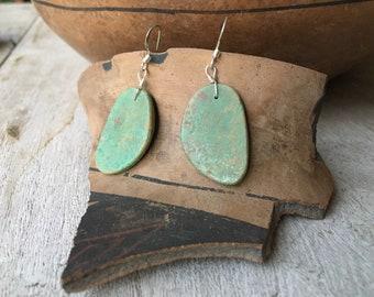 Light Green Turquoise Slab Earrings Medium-Small Size, Southwestern Santo Domingo Jewelry
