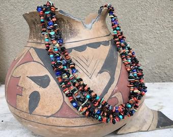 Four Strand Multi Stone Black Onyx Turquoise Bead Necklace, Southwestern Jewelry Native America Indian Style
