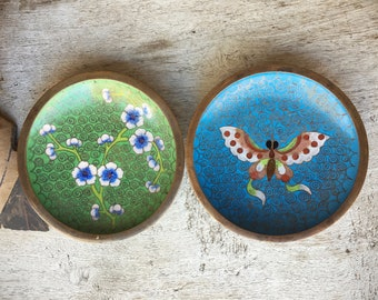 Pair of Miniature Chinese Cloisonne Plates Green and Blue, Enamel on Copper Trinket Ring Dishes