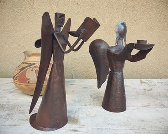 Pair of Rustic Metal Singing Choir Angel Candleholders, Vintage Christmas Decor, Mexican Decor