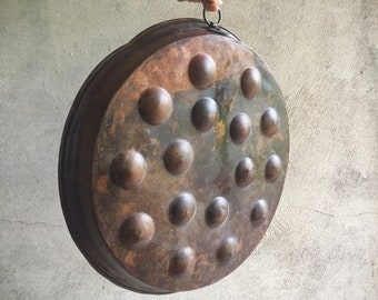 Antique French Copper Escargot Egg Pan, French Cookware, Rustic Copper Tray, Aebleskivers Pan