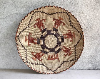 Flat Woven Basket Plate Bohemian Decor, Southwestern Decor, Native Style Coiled Basket Wall Decor