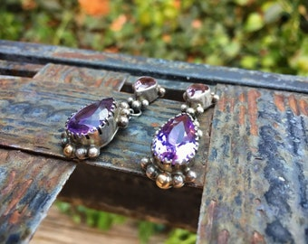 Signed Navajo Amethyst Earrings Sterling Silver Gold, February Birthstone, Native American Indian