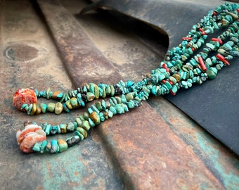 Two Strand Chip Turquoise Coral Spiny Oyster Nugget Necklace w/ Jacla on Braided Twine, Santo Domingo