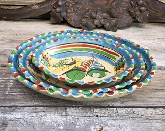 Old Mexican Pottery Oval Dishes Tlaquepaque Ruffled Edge Nesting Bowls, Rustic Decor Farmhouse, Southwestern Home