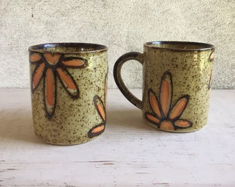 Pair Coffee Cups Beige with Orange Floral Design, Otagiri Japan Vintage Stoneware Mug Set