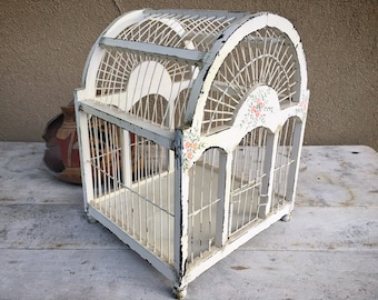 Distressed French Country Vintage Decorative Bird Cage Wood and Metal, Cottage Chic Rustic Decor