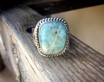 Size 11.75 Larimar Ring for Men or Women, Navajo Made Native American Indian Jewelry Southwestern