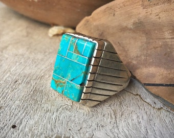 Husband Gift Vintage Turquoise Ring Men's Ring Channel Inlay, Turquoise Jewelry, Zuni Ring