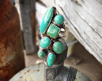 Turquoise Cluster Ring Size 8 (Slightly Adjustable), Navajo Native American Indian Jewelry