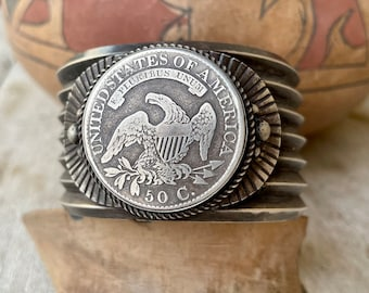 Silver Coin 1807 to 1839 Capped Bust Half Dollar Eagle Cuff Bracelet Men, Navajo Native American