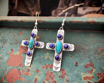 Signed Navajo Lapis Lazuli Turquoise Earrings for Women Sterling Silver Cross, Native American Indian Jewelry
