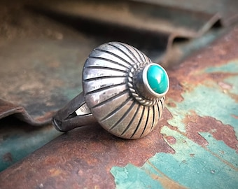 Navajo Darrel Cadman Sterling Silver Turquoise Ring Size 9, Concho Button Style, Native Jewelry