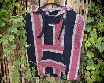 Vintage Mexican Hooded Pullover Vest, Unisex Baja Hoodie Mexican Woven Falsa Blanket Jacket