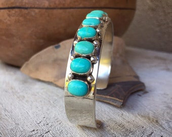 Eleven-Stone Turquoise Sterling Silver Row Cuff Bracelet, Native American Indian Jewelry Southwest