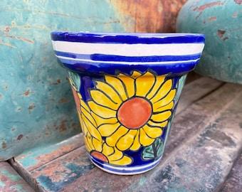 Sunflower Talavera Planter Outdoor Indoor Mexican Home, Southwest Patio Decor, Ceramic Plant Holder