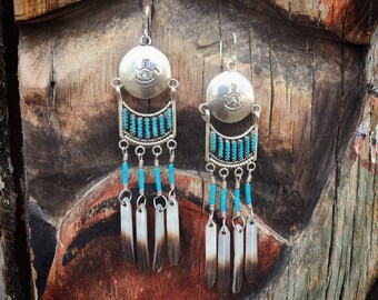 Extra Long Vintage Turquoise Earrings Sterling Silver Conchos with Feather Dangles, Native American Indian Jewelry