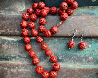 "Vintage Chinese Earrings and Necklace 25"" Hand Knotted Faux Red Carved Cinnabar Jewelry Women"