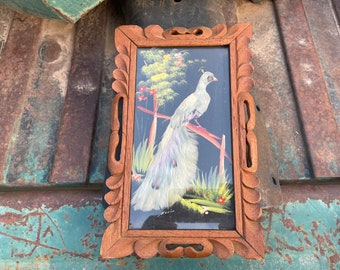 Framed Mexican Feather Art White Peacock Bird Arteplumeria, Real Feather Painting, Southwest Decor