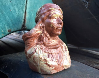 Vintage Swirled Marbled Ozark Clay Pottery Bust of Indian Chief, Roadside Tourist Souvenirs