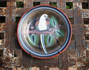 "Small 6"" Burnished Pottery Tonala Plate Wall Hanging with Parrot, Mexican Pottery"