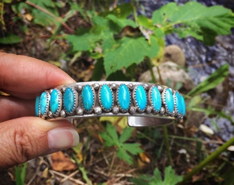 81gm Heavy Turquoise Cuff Bracelet for Women or Men, Native American Indian Jewelry