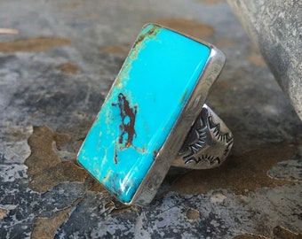 21g Heavy Huge Men's Turquoise Ring Size 12, Navajo Made Native American Indian Jewelry for Husband