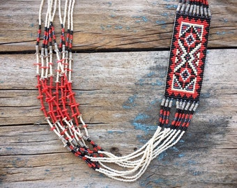 Vintage Seed Bead Necklace for Women, Red Black White Navajo Rug Jewelry, Native American Beadwork