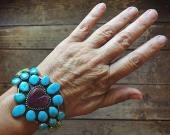 80g Turquoise Cuff Bracelet with Spiny Oyster Gaspeite Hearts, Multi Stone Sterling Silver Native American Indian Jewelry