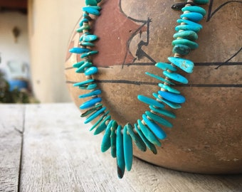 Vintage Turquoise Nugget Heishi Necklace for Women, Santo Domingo Native America Indian Jewelry
