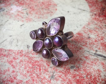 Vintage Amethyst and Synthetic Purple Pearl Ring for Women Adjustable Band Size 6.5 to 7