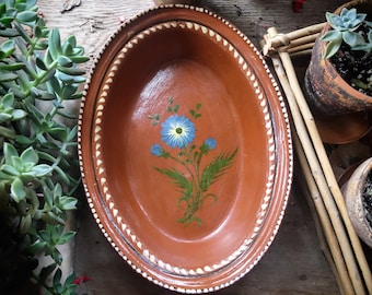 Mexican Pottery Oval Dish Blue Flower Decor Capula Michoacan Redware Mexican Decor