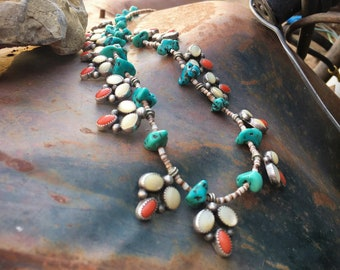 Vintage Long Native American Indian Necklace with Mother of Pearl Coral Pendants and Turquoise Chunks
